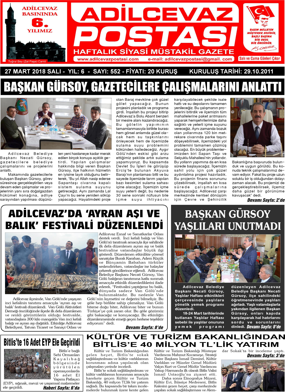 28.03.2018 Sayılı Adilcevaz Postası Gazetesi